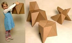 Free pattern for childrens furniture made out of cardboard.