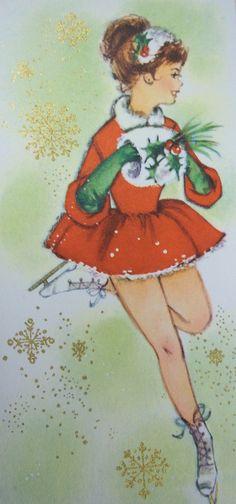 Vintage Christmas card with ice skating girl.