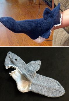 Fits shoe sizes Preteen boys size or Women's size Shark socks look as if the shark has eaten the foot and is working its way up the rest of the leg. Crochet Slipper Pattern, Crochet Slippers, Knit Crochet, Shark Socks, Shark Slippers, Animal Knitting Patterns, Knit Patterns, Knitting Projects, Crochet Projects