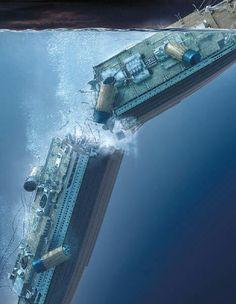 Titanic sinking - the ship breaks in two Rms Titanic, Titanic Wreck, Titanic Photos, Titanic Sinking, Titanic History, Titanic Movie, Ancient History, Titanic Underwater, Ship Breaking