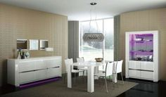 Contemporary Dining Room Sets With Sleek White Storage Also Luxury Pendant Lamp Feat Rectangular Rug Modern Dining Room Lighting, Contemporary Dining Room Sets, Casual Dining Rooms, Contemporary Furniture, Dining Room Paint Colors, Dining Room Design, Dining Room Buffet, Dining Room Furniture, Dining Sets