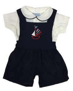 Baby Boys Navy Blue Dungaree and Shirt Outfit