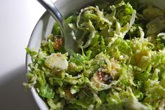 Shredded Brussels Sprout Salad!  Add some grilled chicken (on the side) and you're done!
