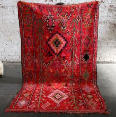 Red Rainbow Vintage Moroccan Rug by LAVENDERSKYBLUE on Etsy https://www.etsy.com/listing/399391939/red-rainbow-vintage-moroccan-rug