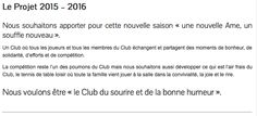 Le projet du Club de Tennis de Table d'Eauze pour la saison 2015 - 2016