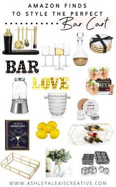 Home Bar Decor, Bar Cart Decor, Wine Cart, Liquor Cart, Bar Cart Essentials, Bar Cart Styling, Bar Areas, Cocktail Napkins, Alcoholic Drinks