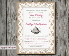 Lace Burlap Bridal Shower Tea Party Invitation  Pink by pegsprints, $14.00