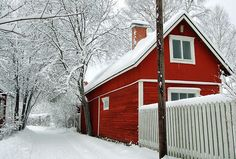 Red house in Finland. Minis, Red Houses, Cottages And Bungalows, House Fan, Winter Images, Scandinavian Home, Winter White, The Places Youll Go, Beautiful Places