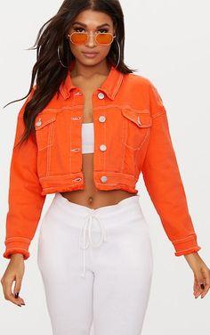 Bright Orange Cropped Denim Jacket | Denim | PrettyLittleThing