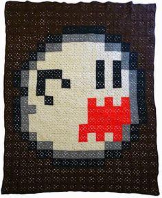 Art, Crafts and Coffee: Crochet Pixel Blanket - Boo