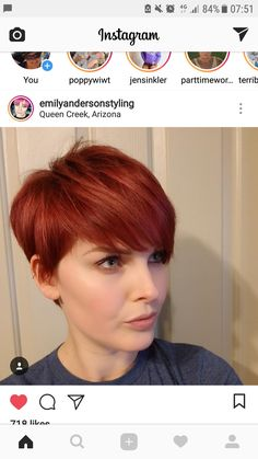 Redheads Haare & Co. Short Red Hair, Girl Short Hair, Short Hair Cuts, Short Hair Styles, Pixie Hairstyles, Pixie Haircut, Hairstyles With Bangs, Pretty Hairstyles, Color Cobrizo
