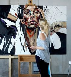 Anna Bocek painting in her Poland atelier, art studio #workspace. #artpainting
