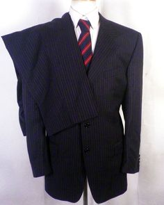 3d7e0f158 NWOT Abba Italy black stripe Super 150's Wool Canvassed 2 Pc Suit 3 button  44 S