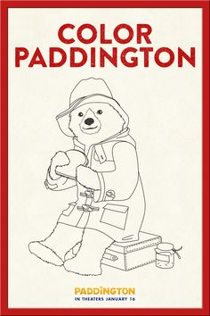 a fun coloring page activity for paddington fans of all ages use this printable of