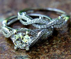 CUSTOM Made - Diamond Engagement Ring and Wedding band set - Round - Pave - Antique Style - Weddings - Luxury. $4,800.00, via Etsy.