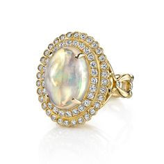 18k Gold and Diamond Fleur De Lis Opal ring by Erica Courtney®