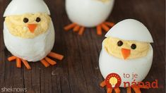 Turn boring deviled eggs into adorable hatching chicks with this easy recipe. From SheKnows Easter Deserts, Easter Snacks, Easter Lunch, Easter Dinner, Easter Treats, Easter Recipes, Easter Eggs, Easter Food, Chick Deviled Eggs Recipe