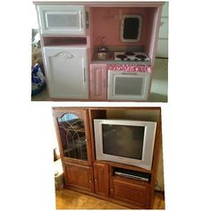 My latest pinterest project! Kids kitchen made from an old entertainment center. Before & after! Made for my sweet friends grandaughters:-)