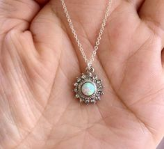 White Opal Sun Necklace. Silver Necklace. by FamilyWeddingJewelry