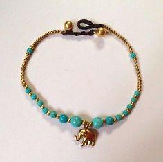 Anklet Ankle bracelet Charm Bead Bell Wax Cord Elephant Glamorous Handmade Thai