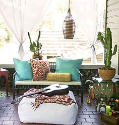 Outdoor decor - patio - balcony - bohemian lounge - cactus - cacti - I LOVE IT ALL! :)