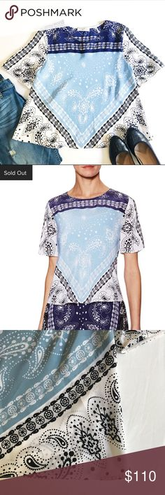 Sandro Paris NWOT Silk Elise Bandana Print Top Sandro Paris Silk Elise Bandana Print Top. Size 2, fits true to size. 100% woven silk. Dry clean only. Crew neck, side seaming detail, flared hem and tonal top stitching. Brand new! Never worn without tags. No damage, no stains, pet/smoke free home. Sold out online, Make me an offer! 😊 Sandro Tops Blouses