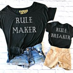 Rule Maker Rule Breaker Set-Mommy and Me Outfits-Mommy and Me Shirts-Mommy and Me Clothing-Family Shirts-MommyLaDyClub Mama & Me Collection Mom And Me Shirts, Baby Shirts, Sibling Shirts, Family Shirts, Sibling Poses, Mom And Baby Outfits, Cute Outfits, Matching Shirts, Matching Outfits