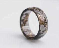 Black Resin Ring Men Ring Gold Flakes Big Size 10 Faceted Ring