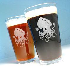 Squid Pint Glass, at www.breadandbadger.com #pintglass #etchedglass #glass #beer #squid #nautical #animals #cute