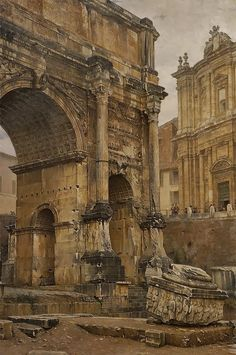 Luigi Bazzani, Italian The Arch of Septimius Severus, Rome, 1900 Architecture Antique, Architecture Drawings, Classical Architecture, Historical Architecture, Ancient Ruins, Ancient Rome, Ancient Art, Ancient History, Roman History