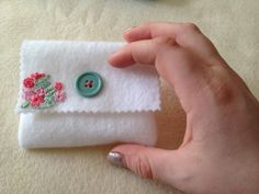 Garden hand embroidery felt card wallet in green by CeeStitchery, $6.00
