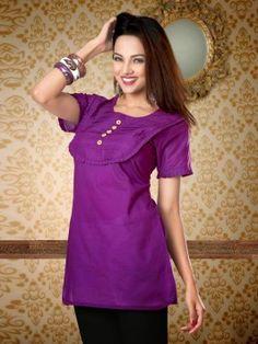 Dark Purple Pure Cotton Kurti