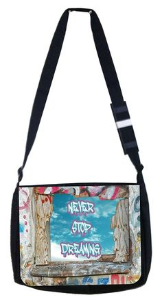 Never stop dreaming window Rosie Parker Inc. TM Medium Sized Messenger Bag 11.75' x 15.5' and 4.5' x 8.5' Pencil Case SET *** To view further for this item, visit the image link. (This is an Amazon Affiliate link and I receive a commission for the sales)