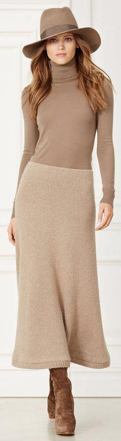 Ralph Lauren ~ Neutral Wool Maxi Skirt