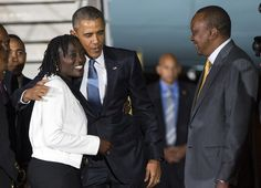 Barack Obama visits Kenya: Obama hugs his half-sister Auma Obama on arrival.