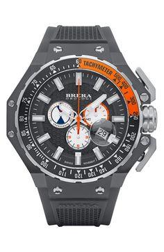 Men's Brera 'Gran Turismo' Chronograph Silicone Strap Watch