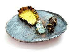 "Brooke Marks-Swanson, Direction- brooch/pendant, 2012, copper, acrylic, 18K gold, 22k gold leaf, aquamarine, hemimorphite, 3x2x.5"""