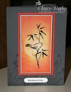 handmade greeting card ... Asian Artistry ... gray card with tone on tone stamping and a bright orange panel with sponged background for brush art look bird on bamboo ...