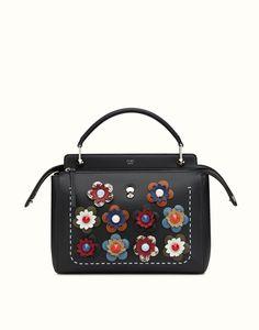 FENDI FASHION SHOW DOTCOM - black leather handbag with light blue clutch bag