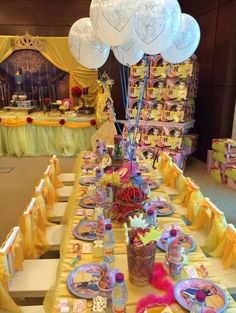 Beauty and the Beast Birthday Party Ideas Beauty And Beast Birthday, Beauty And The Beast Theme, Disney Princess Party, Princess Birthday, Princess Belle, Little Girl Birthday, Bday Girl, 6th Birthday Parties, Birthday Ideas