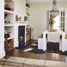 Log Storage For The Wall Perpendicular To Corner Fireplace