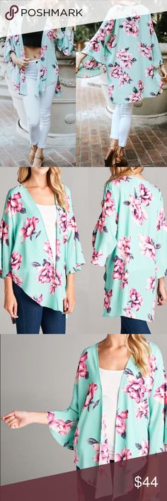 """🆕 Floral print mint chiffon kimono cardigan Super cute bohemian bell sleeve floral cardigan This beautiful chiffon floral kimono says it all with style and print  Features: MADE IN USA Lightweight Trendy floral print Material: 100% Polyester Bell sleeves Measurements:  Small(S): Size 2/4 Bust: 35""""-36""""  Medium (M): Size 6/8 Bust: 37""""-38""""  Large (L): Size 10/12 Bust: 39""""-40""""  Extra-Large (XL): Size 12/14 Bust: 41""""-42"""" Pink Peplum Boutique Tops"""