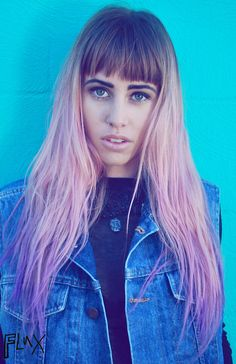 This look, her fringe is natural while everything else is pastel pink x