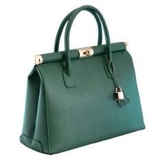 H HS 1205 VR Minerva Made in Italy Leather Green Structured Top Handle Bag   Clothing  135 f9ba2aba82f