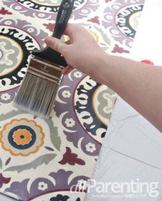 DIY Fabric Rug Tutorial. What you'll need Decorator weight fabric Rubber door mat Scissors Spray adhesive Paint brush Water based polyurethane Iron and ironing board