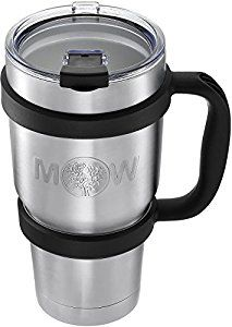 Amazon.com: Tumbler Insulated Mug Travel Cup - Premium Large 30 oz Set w/ Anti Slip Handle and Leak Proof Lid - Vacuum Double Wall Stainless Steel Cup Keeps Coffee - Tea Cold / Hot Drink: Kitchen & Dining