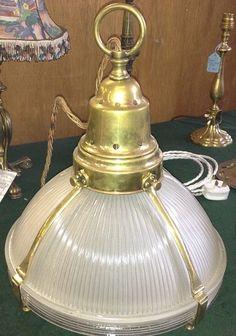 Antique Holophane lantern light Arts Crafts