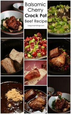 balsamic cherry beef roast crock pot recipe so so good - Rae Gun Ramblings Roast Beef Dishes, Roast Beef Recipes, Cherry Recipes, New Recipes, Dinner Recipes, Crockpot Meals, Slow Cooker Recipes, Potted Beef Recipe, Soups And Stews