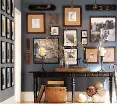 Picture wall in office....I love this paint color