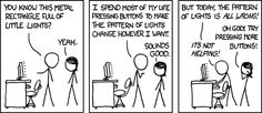 """xkcd.com - Computer Problems - Mouse over says, """"This is how I explain computer problems to my cat. My cat usually seems happier than me."""""""